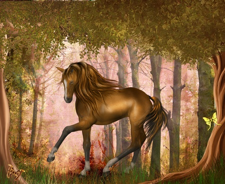 horse in magic forrest Stock Photo