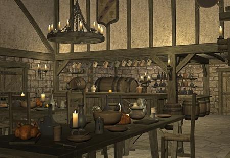 old ruin: medieval tavern