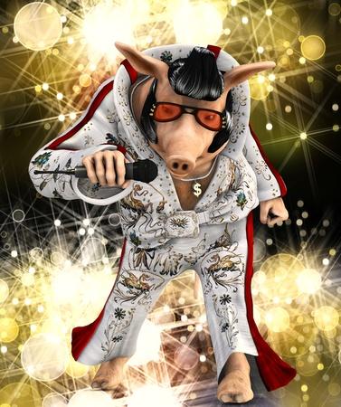 elvis: singer pig toon