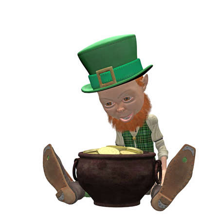 Lucky Leprechaun with a pot of gold Stock Photo - 9182330