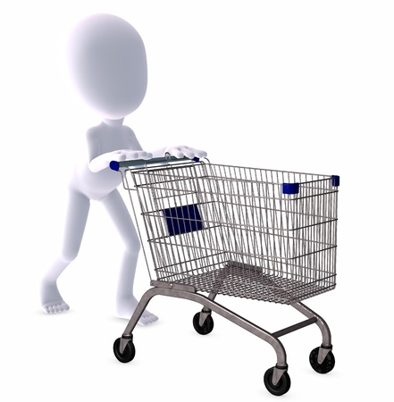 3d figure goes shopping Stock Photo - 9182337