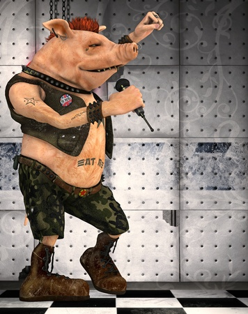 toons: punk pig toon Stock Photo