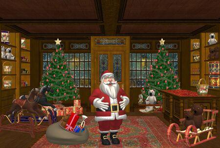 toy shop: Santa in un negozio di giocattoli