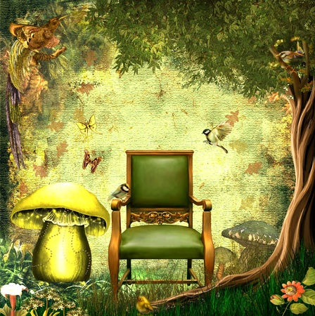 forrest: Fantasy background with birds,trees,butterflies,chair and mushroom Stock Photo