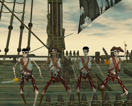 Undead pirates on a ship photo