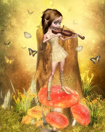cute elf making music
