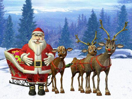 santa with his reindeers photo