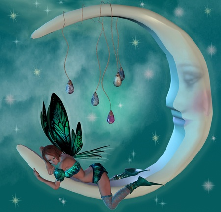 faerie: Cute elf on a moon