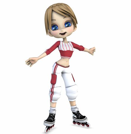 Cool girl on roller blades  photo