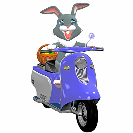 bunny  on a motor bike Stock Photo - 9182479