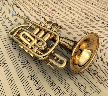 Brass lacquered trumpet laying on music notes