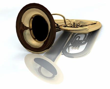 tuba: Big tuba laying on White Background Stock Photo
