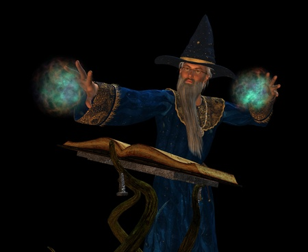 scrying: sorcerer casting a spell