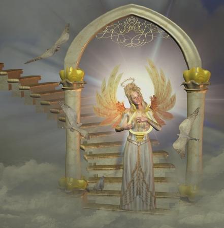 beautiful heaven: angel in heaven Stock Photo