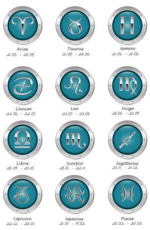zodiacal symbol: zodiac buttons