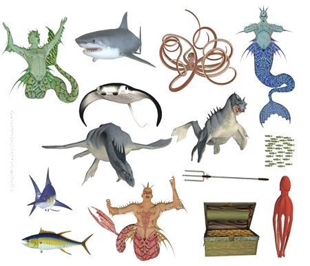 dragon fish: neptun and sea monster