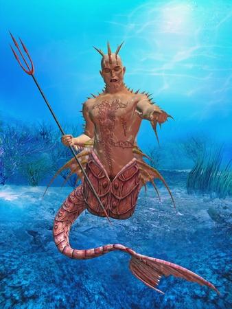 3d render of neptun in the ocean