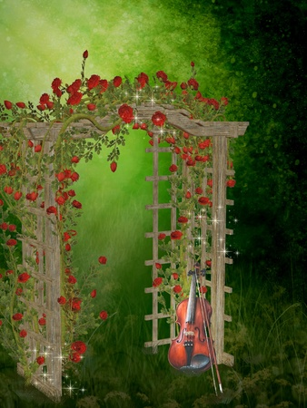 fairytale background: roses garden