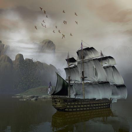 barco pirata: barco en el mar Foto de archivo