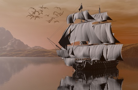 old ship: ship on the sea