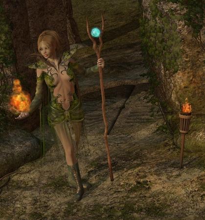 folk tales: sorcerer casting a spell