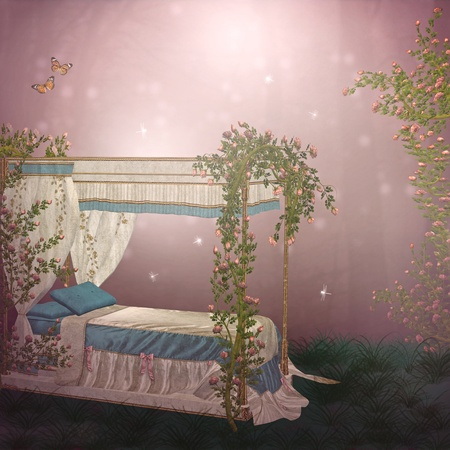 fairytale background: bed in a roses garden Stock Photo
