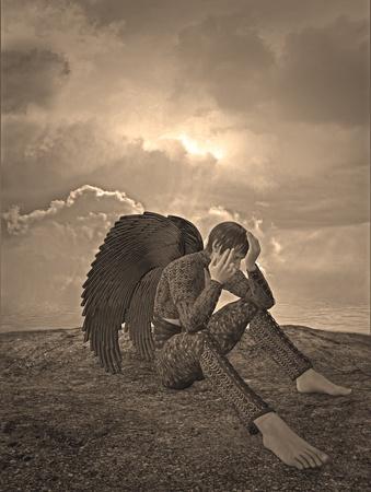 sad angel Standard-Bild