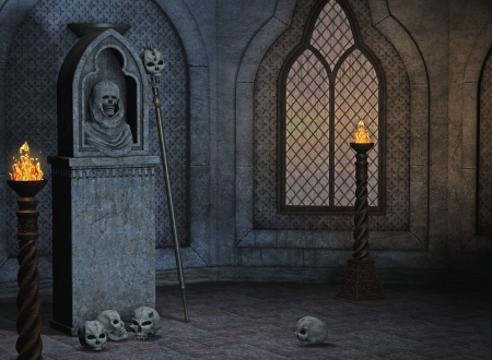 throne: gothic scenery Stock Photo