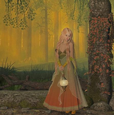 folk tales: elf in the wood Stock Photo