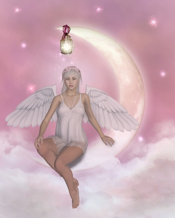 heavenly: angel on the moon Stock Photo