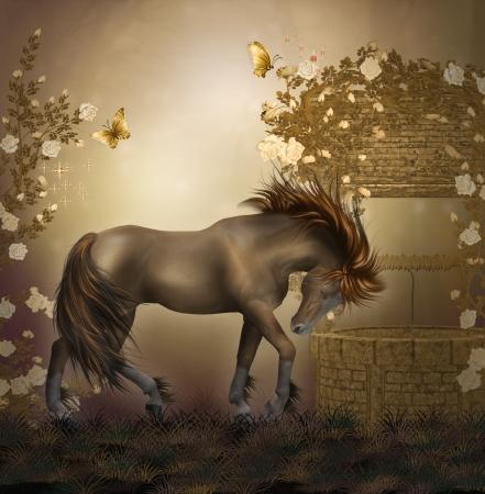 horse in a roses garden