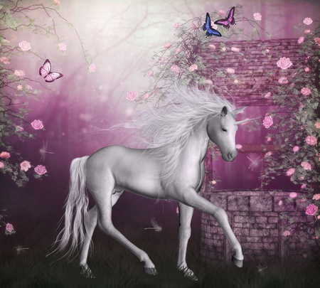 luz de luna: 3D render de un unicornio