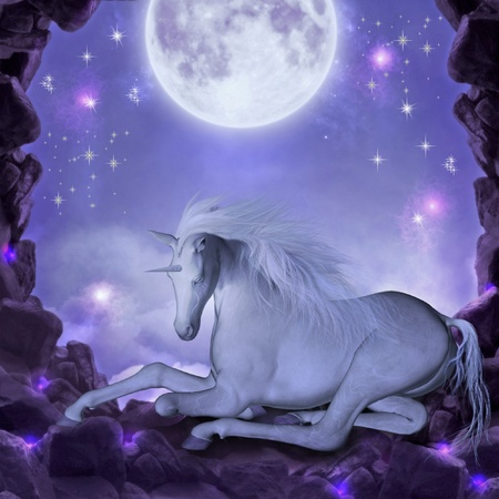 old moon: 3d render of an unicorn