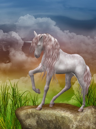 3d render of a beautiful unicorn photo