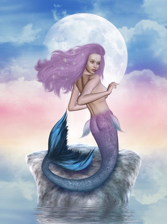 moon fish: 3d render of a mermaid Stock Photo