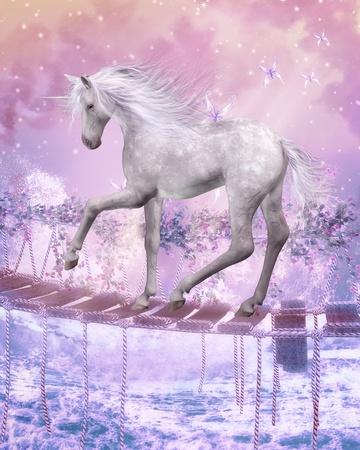 manipulation: 3d render of a beautiful unicorn