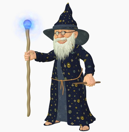 sorcerer: 3d render of a old wizard