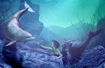 mermaid: mermaid with dolphin Stock Photo