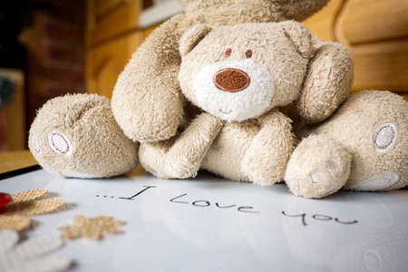Mothers day greeting concepts with I love you Mom text and cute teddy,Top view on white board background
