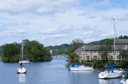 cumbria: Windermere,England - July 16, 2017:,UK -  Beautiful view of Lake District scene on Windermere, Lake District, Blue sky on summer at countryside in England