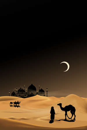 Arab people with camels caravan riding in realistic desert sands,Caravan Muslim ride camel to mosque,Ramadan Kareem concept,Vertical desert with sand dunes and crescent moon at dark night