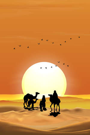 Vector illustration Arab family with camel walking in desert sands with sunset in evening,Vertical Landscape Scenery of sun over mountains during twilight in orange color above desert and sand dunes.