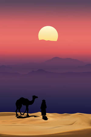 Arab man with camel walking in desert sands with sunset in evening,Vertical Scenery of sun over moutains during twilight in magenta color above desert and sand dunes.