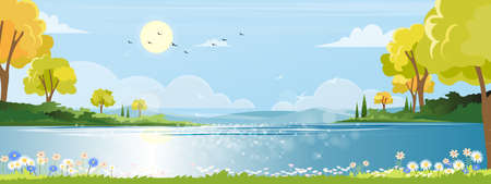 Panoramic of spring village with beautiful view lake and mounthains with blue sky, Vector Spring landscape, Panorma countryside in the morning in summer with bright light from sun and reflection on water, Vector illustration nature cartoon