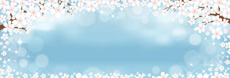 Vector summer nature background with cute tiny sakura on blue pastel background, Spring background with cherry blossom border and blurry bokeh light effectTemplate banner for Easter or Spring