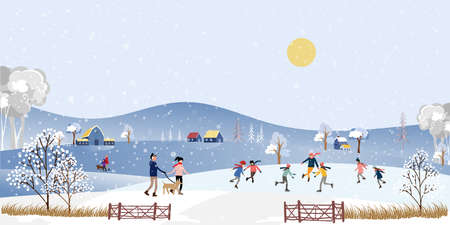 Winter landscape at night with people having fun doing outdoor activities on new year,Vector city landscape on Christmas holidays with people celebration, kid playing ice skates in the park