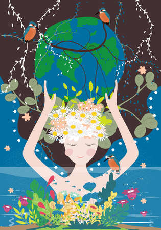 Mother earth day poster with planet, nature and beauty woman. Cute cartoon Vector Girl with wild natural forest and globe, World environment background, Save the earth and Earth day, Green day concept