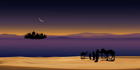 Group of Arab family with camels walking in desert sand, Panoramic landscape  Muslim caravan ride camel at night with full moon, shining stars AND sand dunes,Ramadan Kareem concept