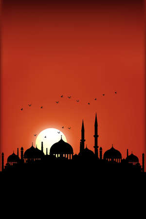 Vertical Ramadan Kareem banner or greeting card with silhouettes of a mosque with sunset,Peaceful Month of Ramadan in minimalist,Evening twilight with buildings temple for holiday season background
