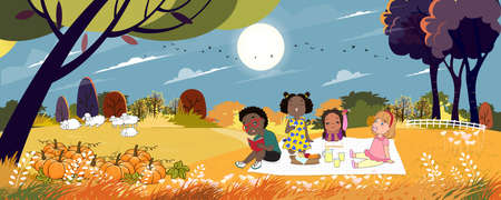 Cute cartoon group of kids having picnic in the park in sunny day Autumn, Children sitting on blanket and eating food for their lunch. Mid Autumn Mid Autumn Festival  Illustration